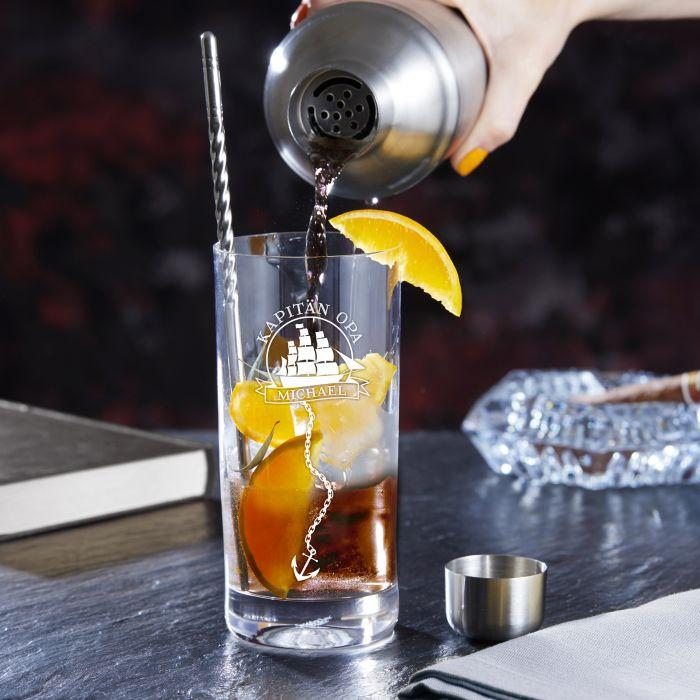 Cocktailglas zum Geburtstag - Segelschiff