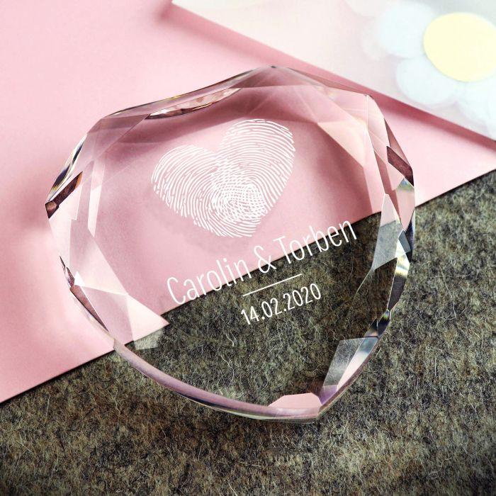 Ausgefallenromantisches - Herz Diamant mit Gravur Fingerabdruck - Onlineshop Monsterzeug