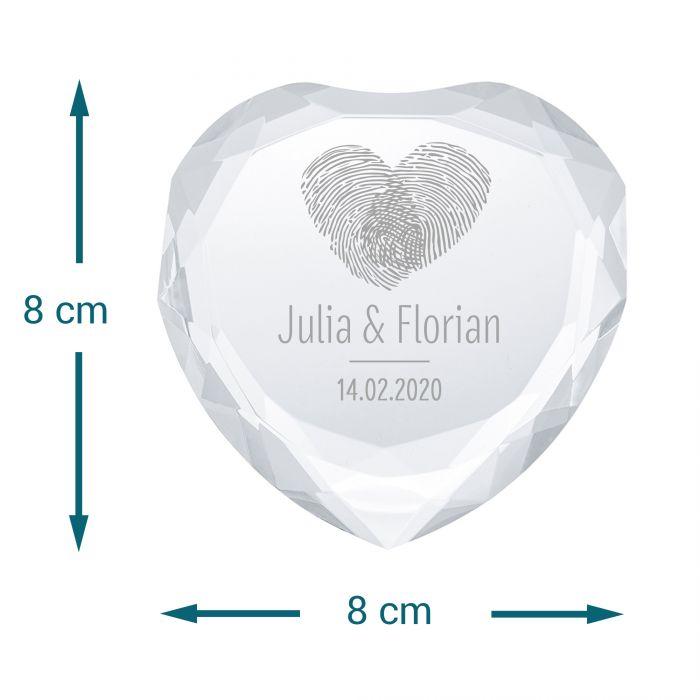 Herz-Diamant mit Gravur - Fingerabdruck