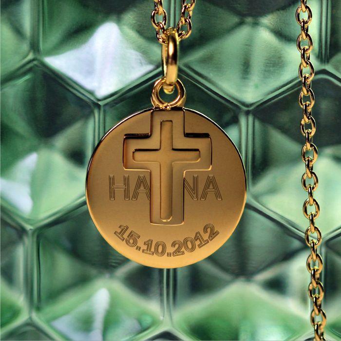 Runder Kettenanhänger mit Kreuz Gold - Name und Datum