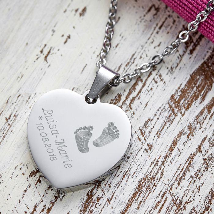 - Herzanhnger Silber graviert mit Kette Babyfe - Onlineshop Monsterzeug
