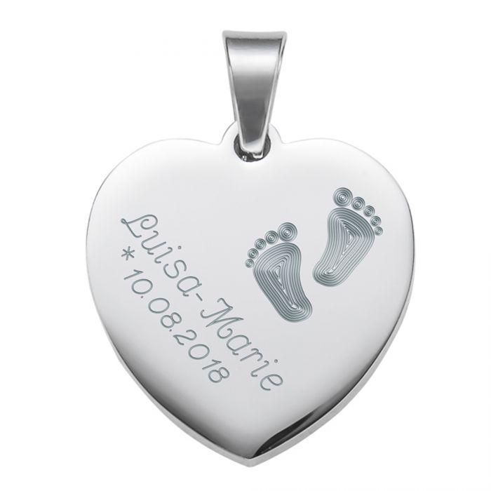 Herzanhänger Silber graviert mit Kette - Babyfüße