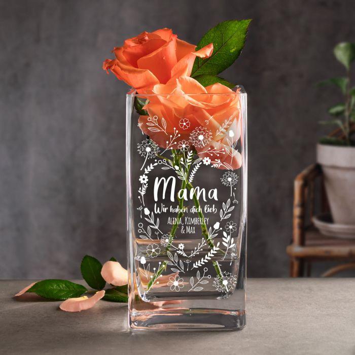 - Vase mit Gravur Blumenherz fr Mama - Onlineshop Monsterzeug