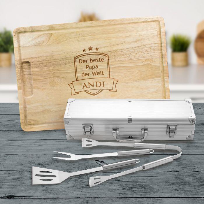 Individuellküchenzubehör - Grillbesteck Koffer mit Schneidebrett Grillset Bester Papa - Onlineshop Monsterzeug