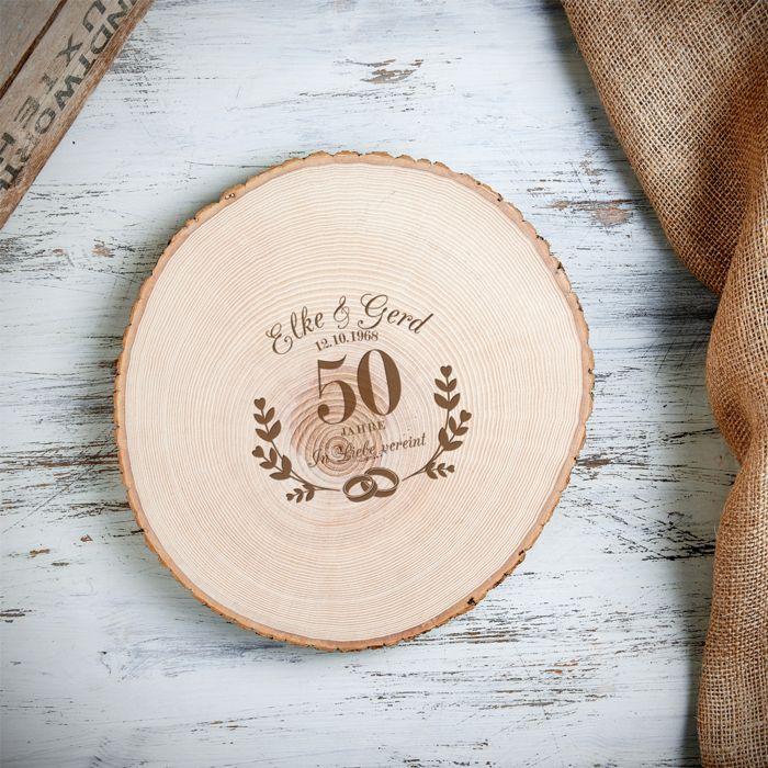 XXL Baumscheibe mit Gravur zur goldenen Hochzeit