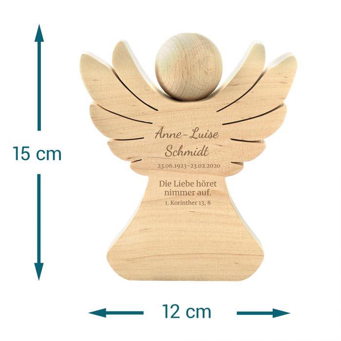 Holzengel mit Gravur - Trauerspruch