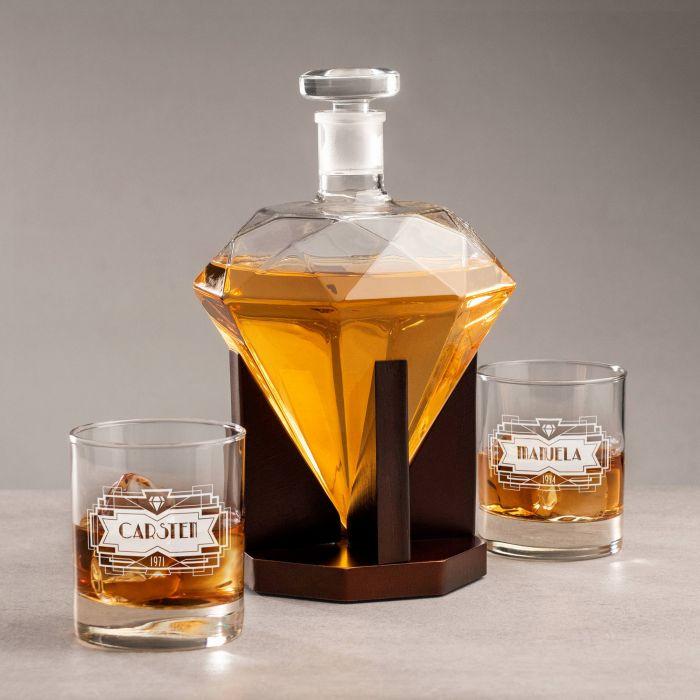 Individuellküchenzubehör - Set mit Diamant Karaffe und 2 Whiskyglsern mit Gravur - Onlineshop Monsterzeug