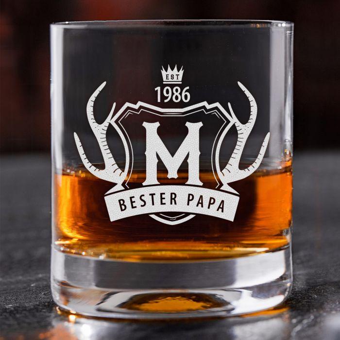 Whiskyglas mit Gravur Bester Papa - Geweih
