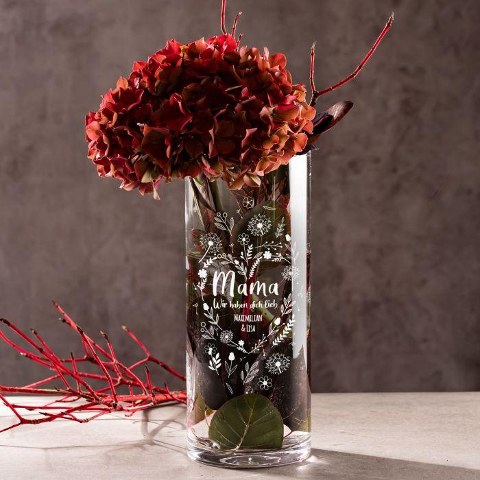 - Runde Vase mit Gravur Blumenherz fr Mama - Onlineshop Monsterzeug