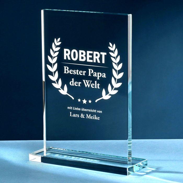 Individuellbesonders - Personalisierter Glaspokal Auszeichnung fr Besten Papa - Onlineshop Monsterzeug
