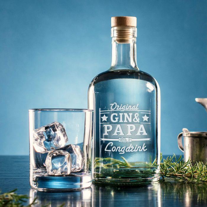 Glaskaraffe mit Gravur für Papa - Gin
