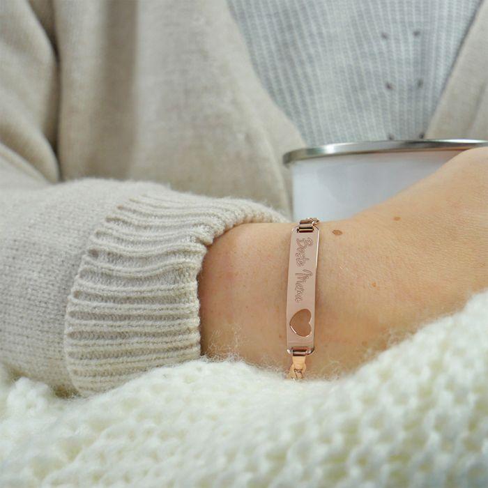 Rosegold Armband mit Herzstanze - Beste Mama