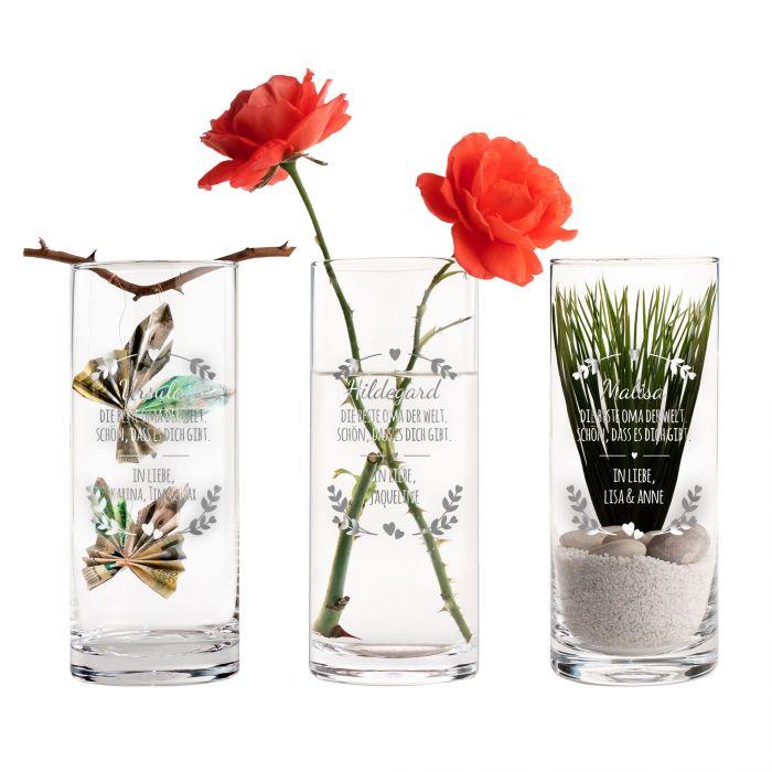 Runde Vase mit Gravur - Beste Oma