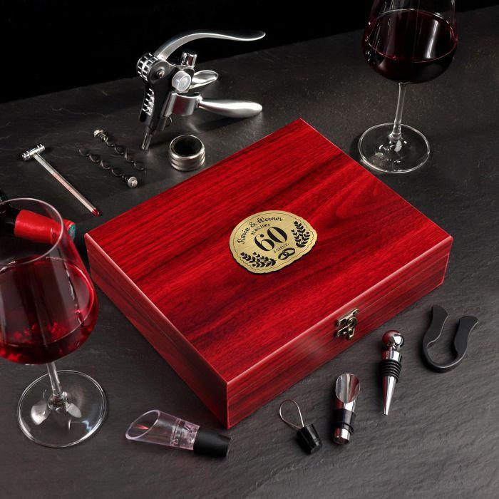- Wein Sommelier Set mit Gravur zur diamantenen Hochzeit - Onlineshop Monsterzeug