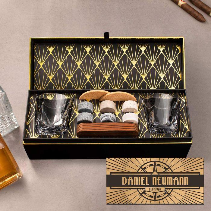 - Whisky Set in edler Geschenkbox Kompass Gravur - Onlineshop Monsterzeug