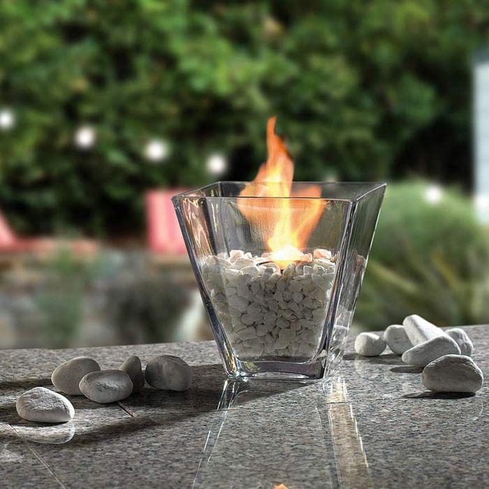 Deko Tischfeuer - edles Dekofeuer in Glasbehälter für den Tisch