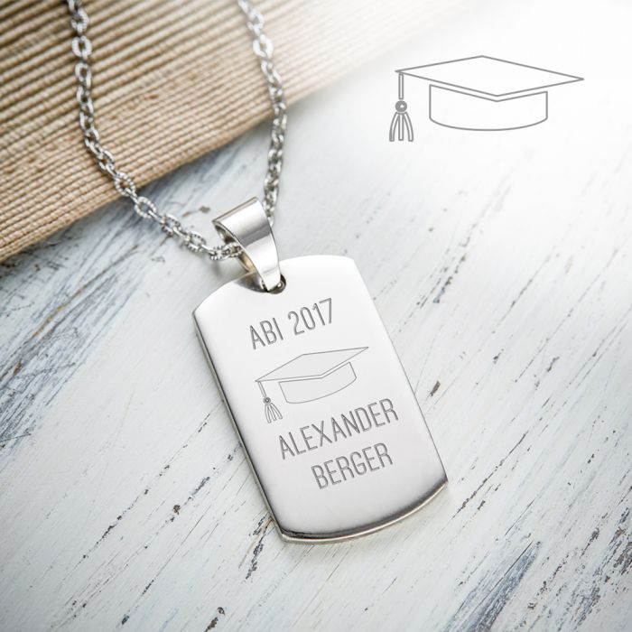 army dog tag kette mit gravur abitur mit edelstahlanh nger. Black Bedroom Furniture Sets. Home Design Ideas