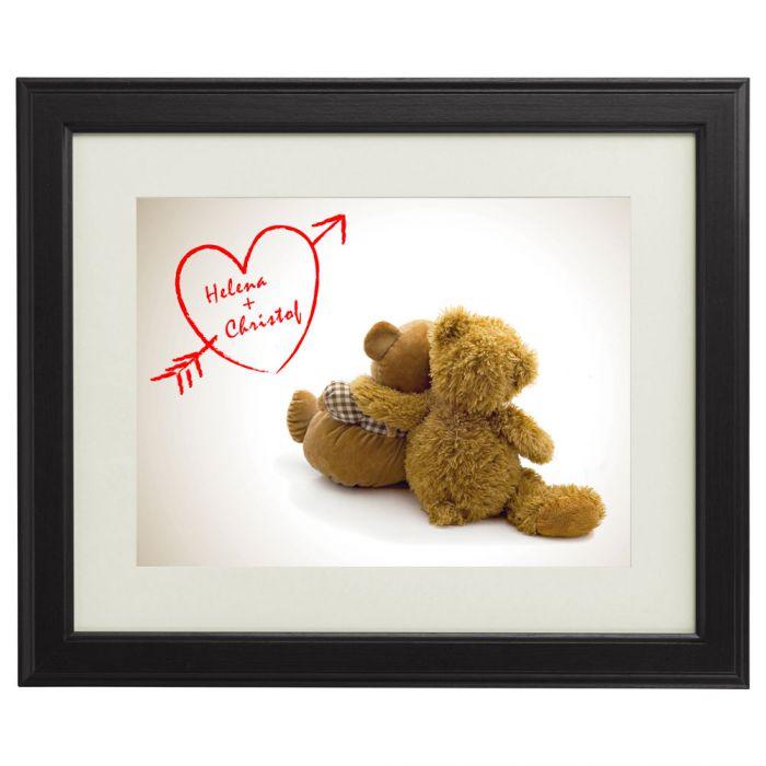 Bärenbild mit Herzgravur - süßer personalisierter Liebesbeweis