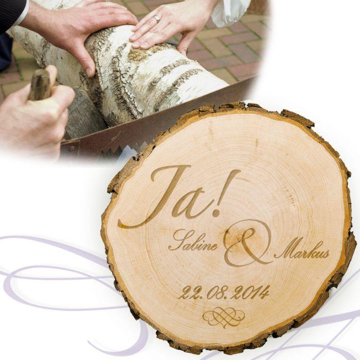 Baumscheibe zur Hochzeit - Jawort Gravur und Deine Wunschnamen