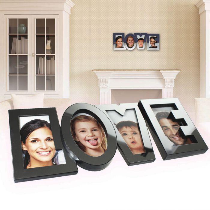 bilderrahmen love in edelstahl optik mit platz f r vier fotos. Black Bedroom Furniture Sets. Home Design Ideas