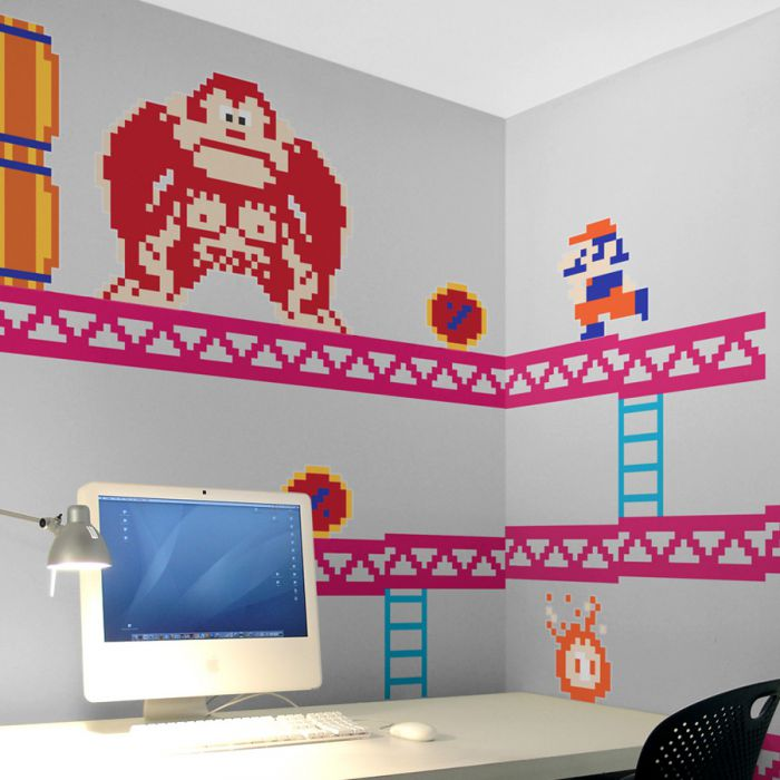 donkey kong wandtattoo wandabziehbilder aus dem retrospiel. Black Bedroom Furniture Sets. Home Design Ideas