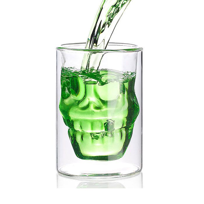 doppelwandiges trinkglas totenkopf zum trinken und als. Black Bedroom Furniture Sets. Home Design Ideas