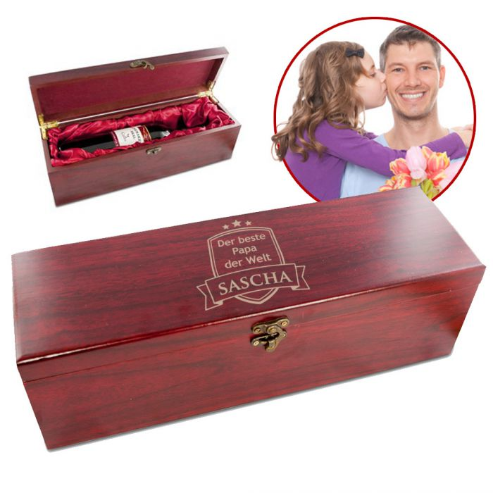 edle weingeschenkbox aus echtholz bester papa edel graviert. Black Bedroom Furniture Sets. Home Design Ideas