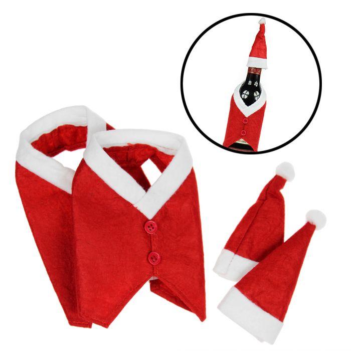 Flaschenanzug Weihnachtsmann - 2er Set