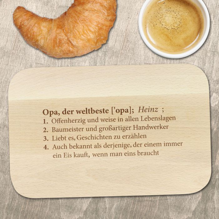 Frühstücksbrett mit Gravur - Definition Weltbester Opa Motiv