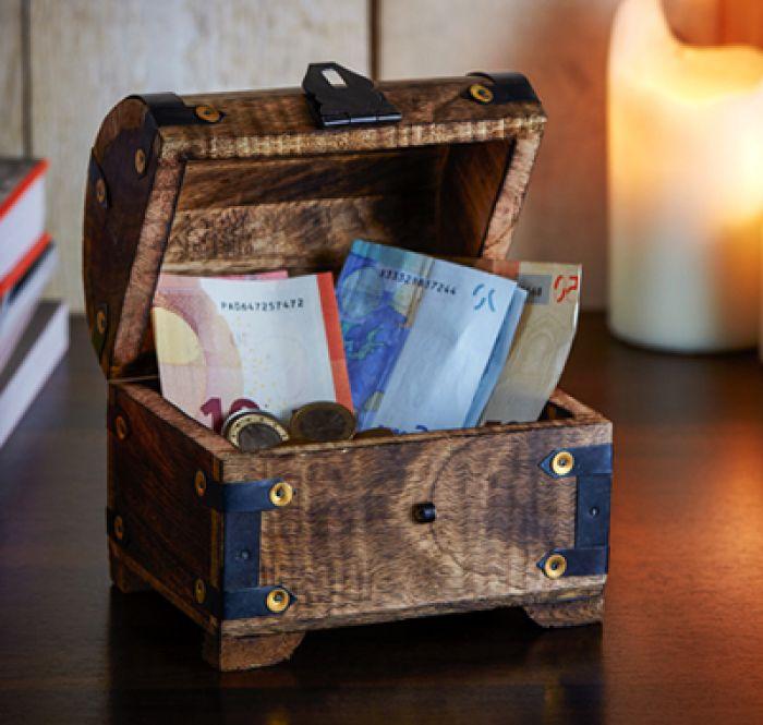 Geld Schatztruhe zur Konfirmation Dunkel