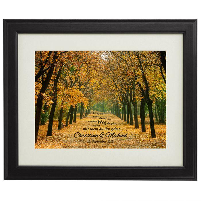 Individuellfotogeschenke - Gemeinsamer Weg Herbstbild personalisiert - Onlineshop Monsterzeug