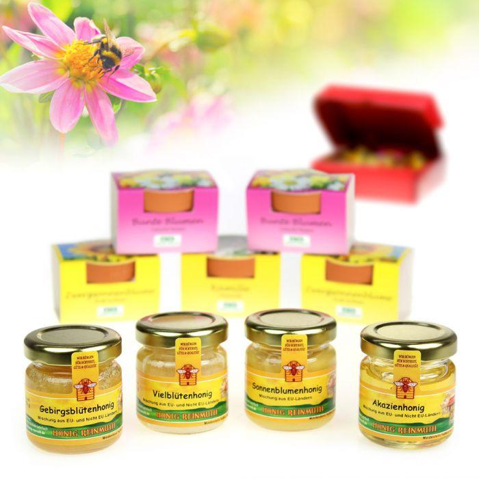 geschenkset honigwiese 4 erlesenen honigsorten 5 mini bl mchen. Black Bedroom Furniture Sets. Home Design Ideas