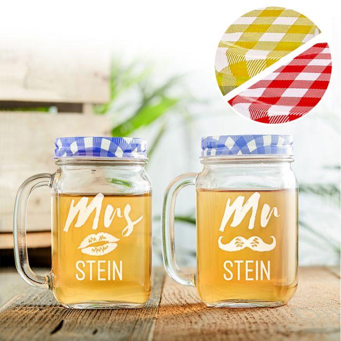 Gläser mit Deckel und Strohhalm 2er Set - Mr and Mrs Gravur