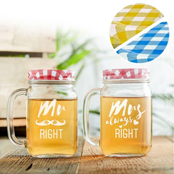 Gläser mit Deckel und Strohhalm Set - Mr and Mrs Right Gravur