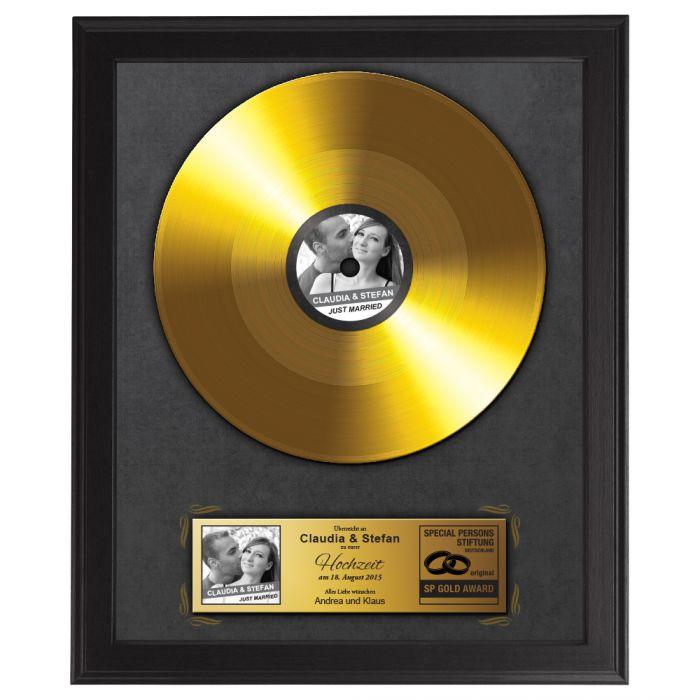 Individuellfotogeschenke - Goldene Schallplatte Hochzeitsbild - Onlineshop Monsterzeug