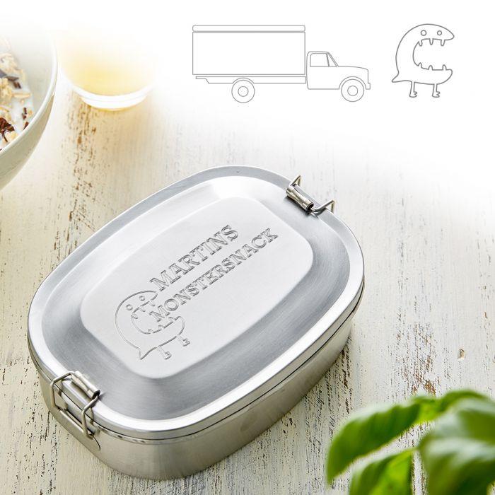 - Gravierte Edelstahl Lunchbox fr Jungs rund - Onlineshop Monsterzeug
