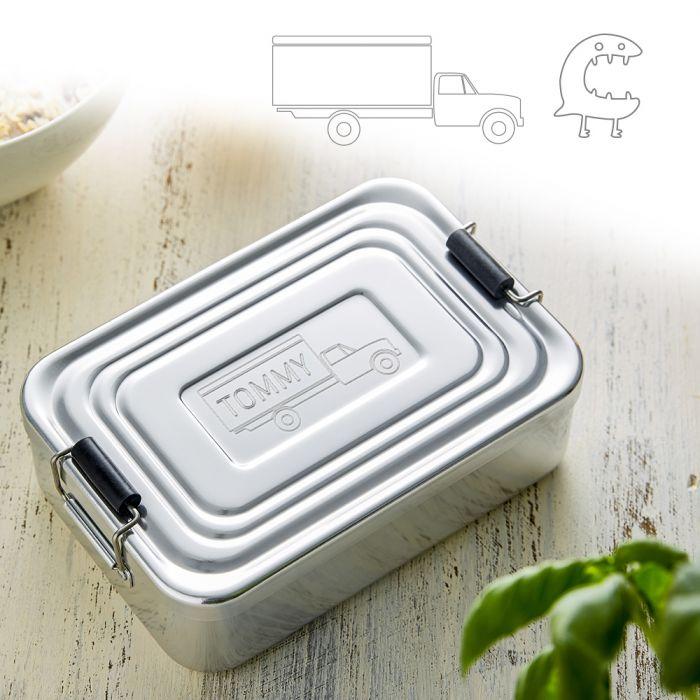 - Gravierte Lunchbox fr Jungs quadratisch - Onlineshop Monsterzeug