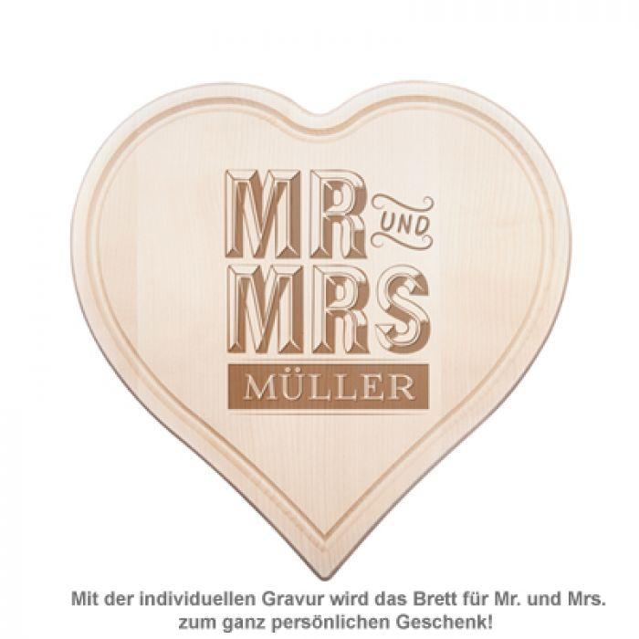 Graviertes Holzherz - Mr. und Mrs.