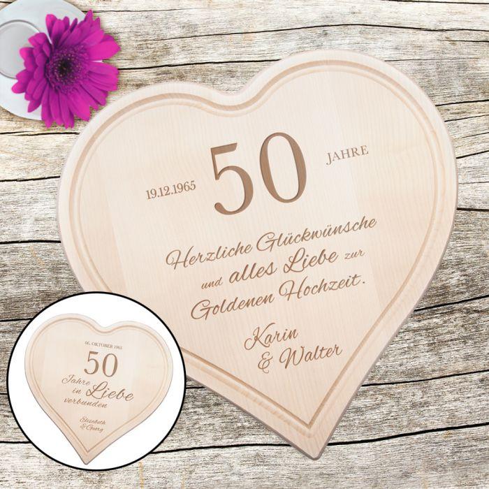Graviertes Holzherz Zur Goldenen Hochzeit Personalisiert