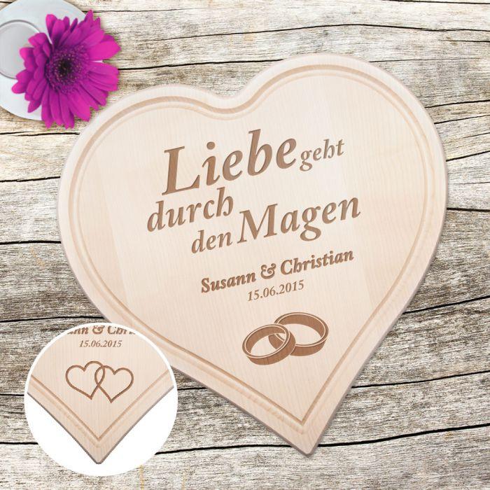 Graviertes Holzherz zur Hochzeit - mit Liebesspruch
