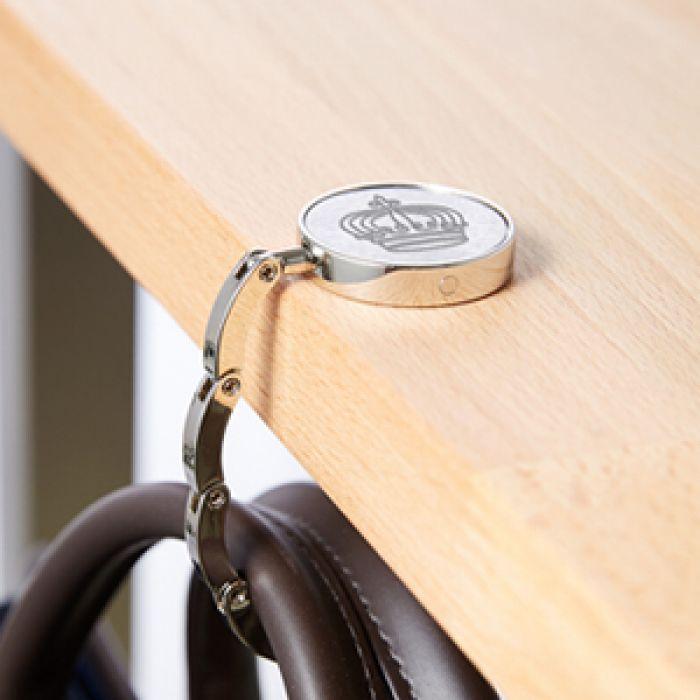 Handtaschenhalter Mit Krone Und Initialen Gravur Personalisiert