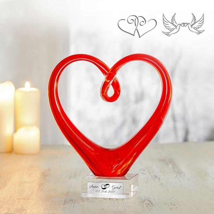 Herz aus Glas mit Gravur - Hochzeit mit Namen und Datum!
