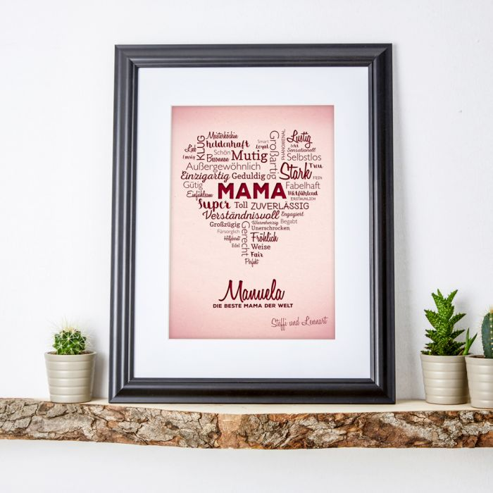 Individuellfotogeschenke - Herz aus Worten personalisiertes Bild fr Mama - Onlineshop Monsterzeug