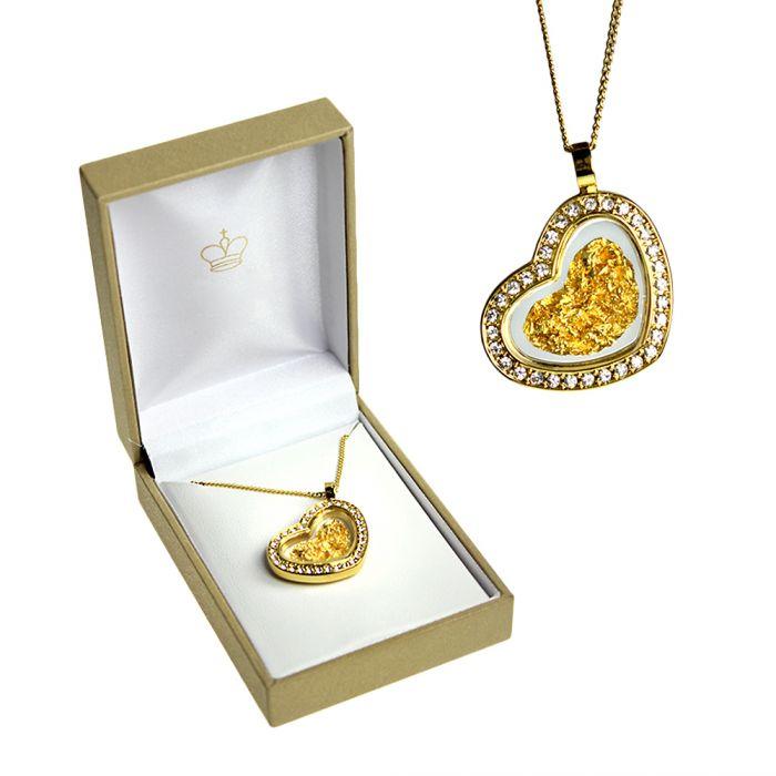 Collier avec pendentif Cœur en feuille d'or 23 carats et strass