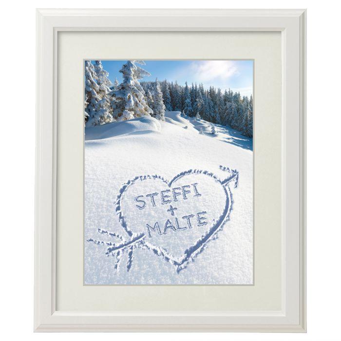 Herz Im Schnee Gerahmtes Bild Weiss Romantisches Wintergeschenk
