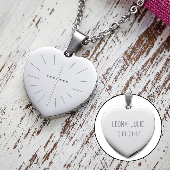 Pendentif cœur gravé avec chaîne - Première communion