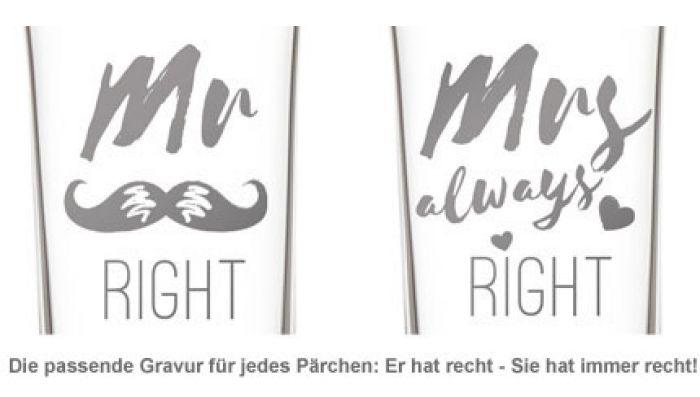 Herzen Sektgläser - Mr and Mrs Right