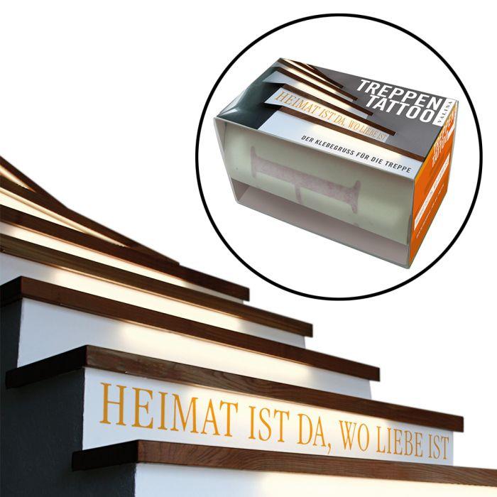 klebetattoo f r die treppe 80x12cm heimat ist da wo. Black Bedroom Furniture Sets. Home Design Ideas