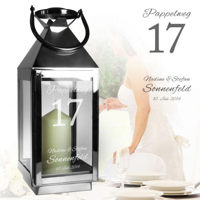 Laterne zur Hochzeit - Hausnummer - Geschenkidee für Brautpaare