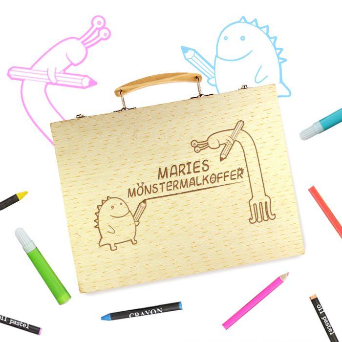 Ausgefallenkreatives - Malkasten Set mit Holzkoffer Monster Gravur - Onlineshop Monsterzeug